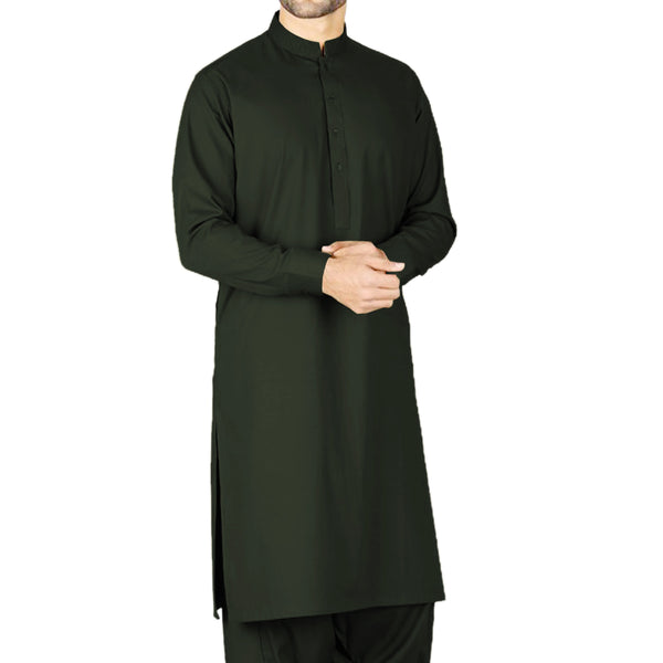 Unstiched Wash & Wear Gents Shalwar Kameez Fabric - Olive Green Alhamra ALHAMRA