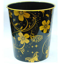 Load image into Gallery viewer, Multipurpose Room Basket - Floral Texture Bin & Basket - Black-Plastic-Alhamra-108-B-ALHAMRA