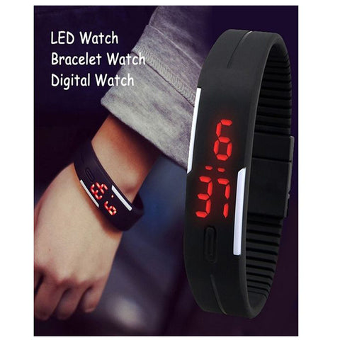 LED Silicon Sports watch for unisex-Black-Plastic-Alhamra-8258-B-ALHAMRA