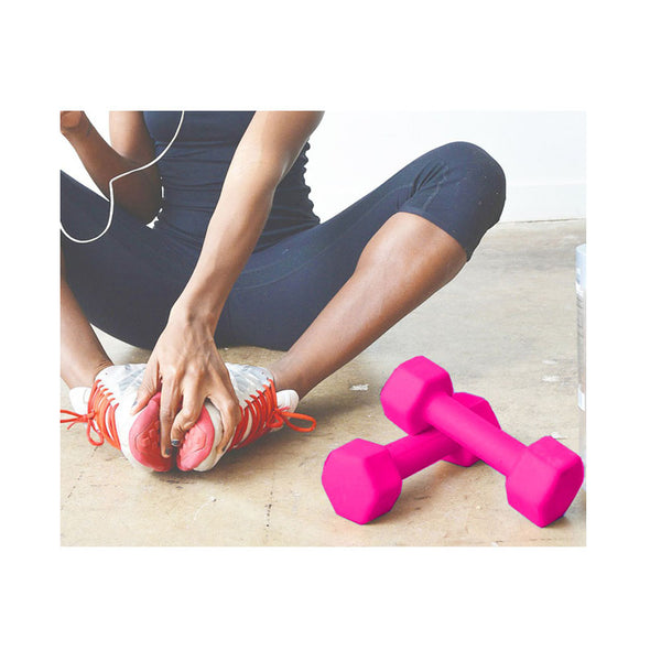 Pair of Vinyl Neoprene Coated Dumbbells- Pink-Mixed-Alhamra-ALHAMRA