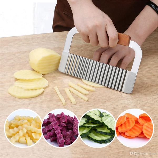 Wavy French Fries & Salad Cutter - Stainless Steel-Stainless Steel-Alhamra-7095-ALHAMRA