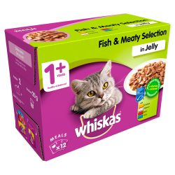 Whiskas Pouch Fish & Meaty Selection in Jelly 12 Pack, 100G