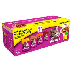 WHISKAS 1+ Cat Pouches Poultry Selection in Jelly 40 for 36 Mega Pack, 100G