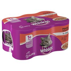 Whiskas 1+ Cat Can Meat Selection in Jelly 6 x 390g, 390G