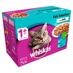 WHISKAS 1+ Cat Pouches Fish Selection in Jelly 12x100g pk,