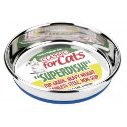 Classic Large Non Slip Cat Stainless Steel Superdish, 6