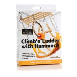 Small 'N' Furry Climb 'N' Ladder with Hammock, 17X22X15CM