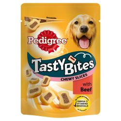 Pedigree Tasty Bites Chewy Slices with Beef, 155G