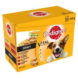 Pedigree Adult Wet Dog Food Pouches Mixed Selection in Gravy 12x100g