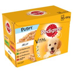 Pedigree Puppy Wet Dog Food Pouches Mixed Selection in Jelly 12x100g