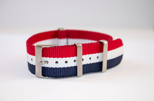red white and blue nato tricolor watch strap 22mm