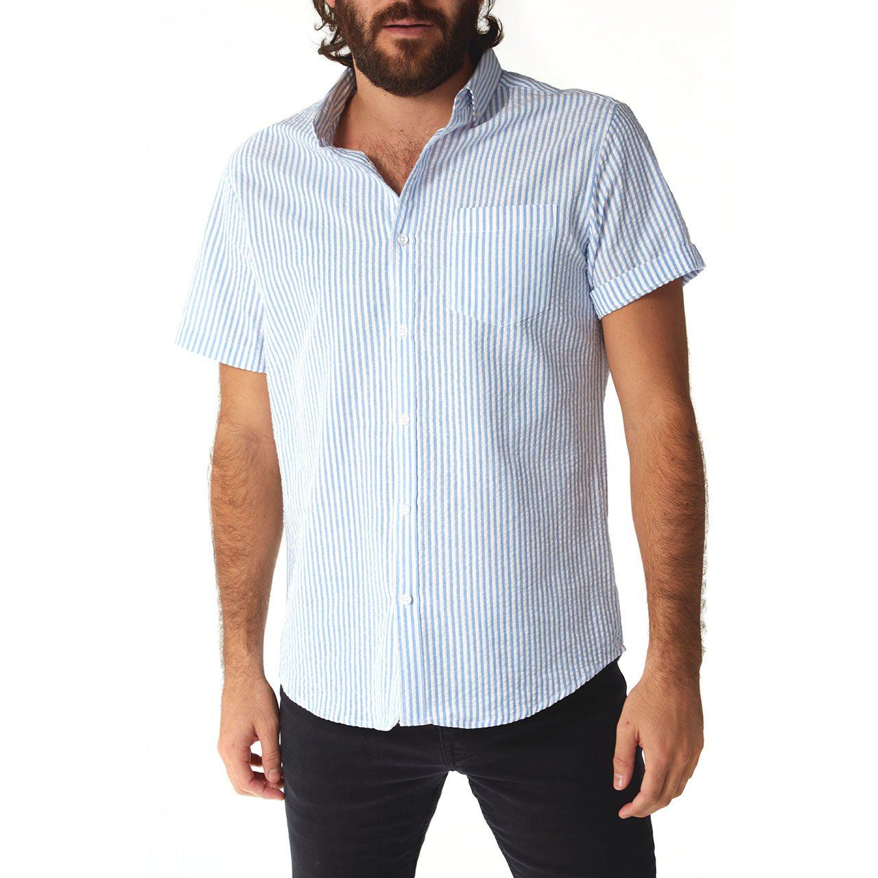 Short Sleeve Shirt, Shirt - Devin Blue Seersucker Striped Shirt