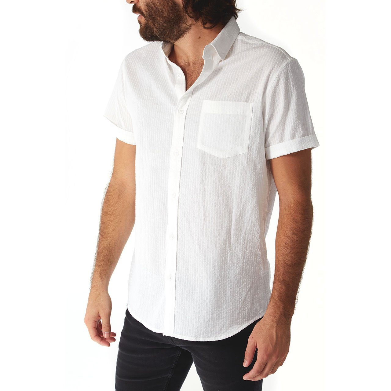 Short Sleeve Shirt, Shirt - Devin White Seersucker Striped Shirt