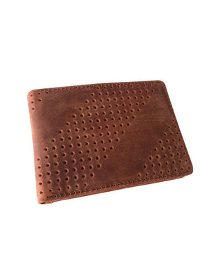Gus Leather Diagonal Perforated Bifold Wallet
