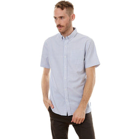 Short Sleeve Shirt, Shirt - Larry Blue Vertical Striped Shirt