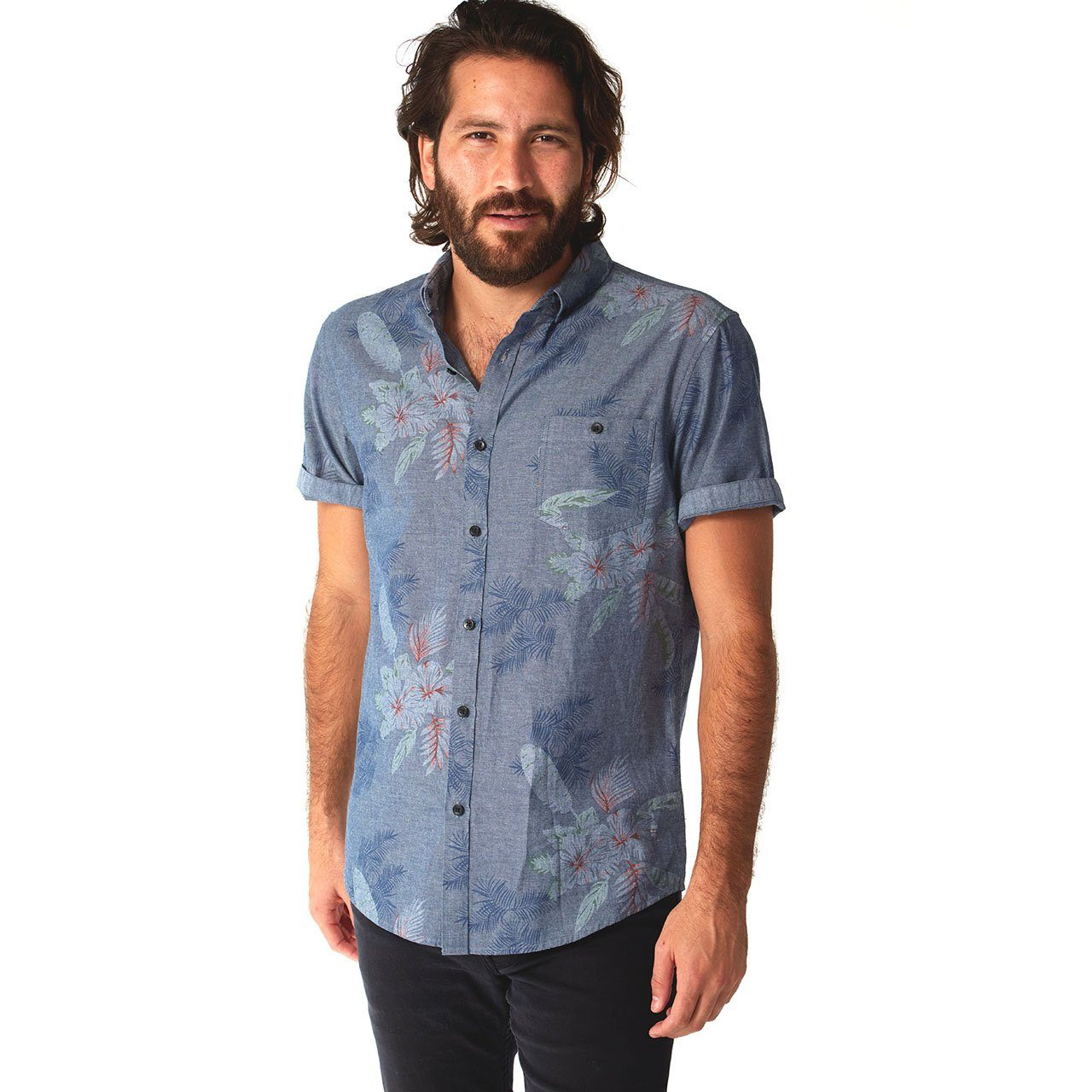Short Sleeve Shirt, Shirt - Rex Chambray Print Shirt