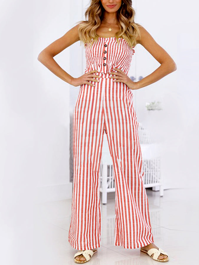 7f20ae4620162 Striped Print Wrapped Chest Wide Leg Pants Suit