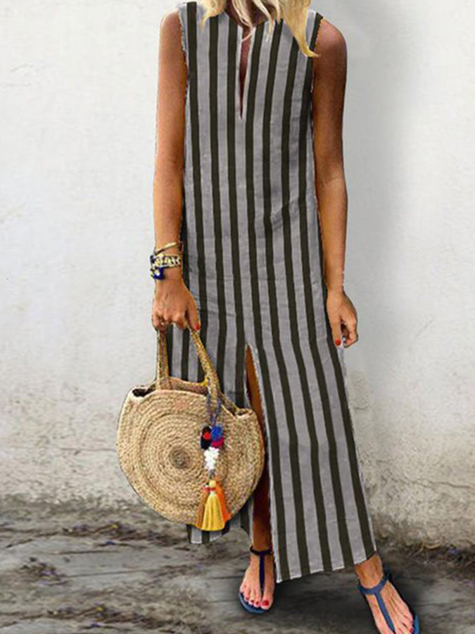 dc0fa941d66e V neck Stripe Women Daytime Sleeveless Casual Slit Striped Summer Dress