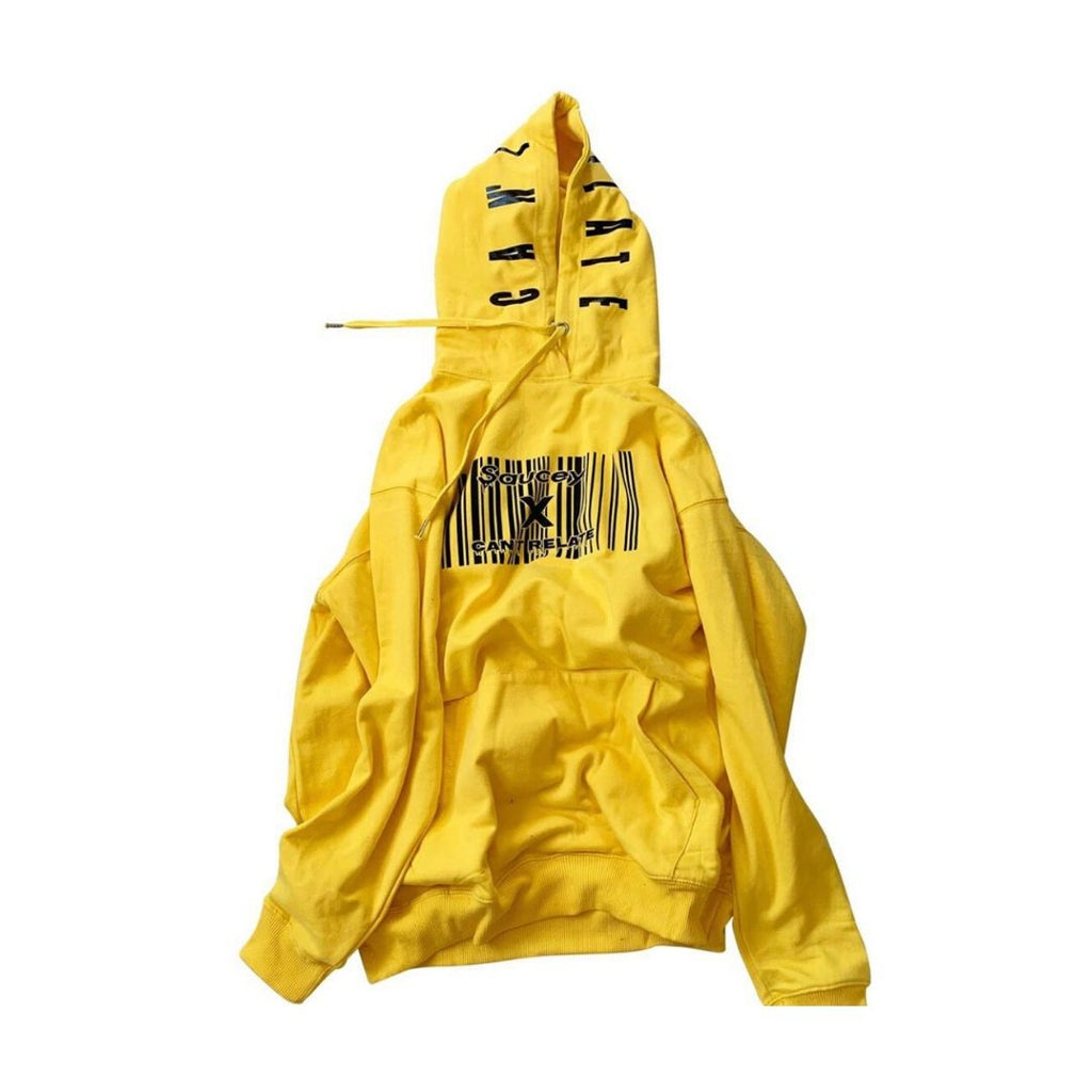 Saucey X Can't Relate Yellow Barcode Hoodie