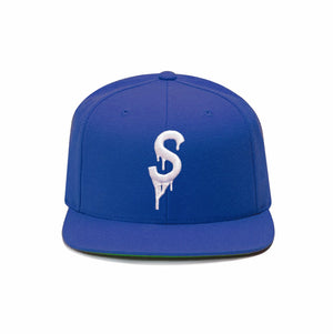 Saucey Blue Snapback with Green Undervisor
