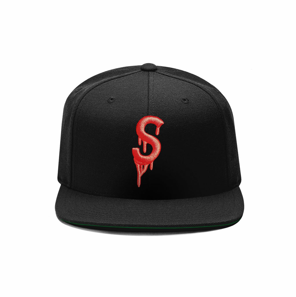 Saucey Black Snapback with Green Undervisor