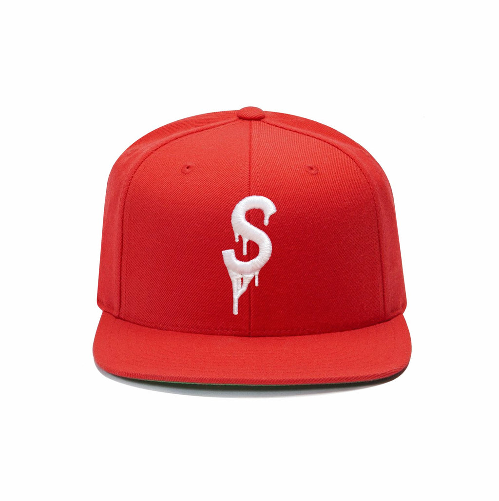 Saucey Red Snapback with Green Undervisor