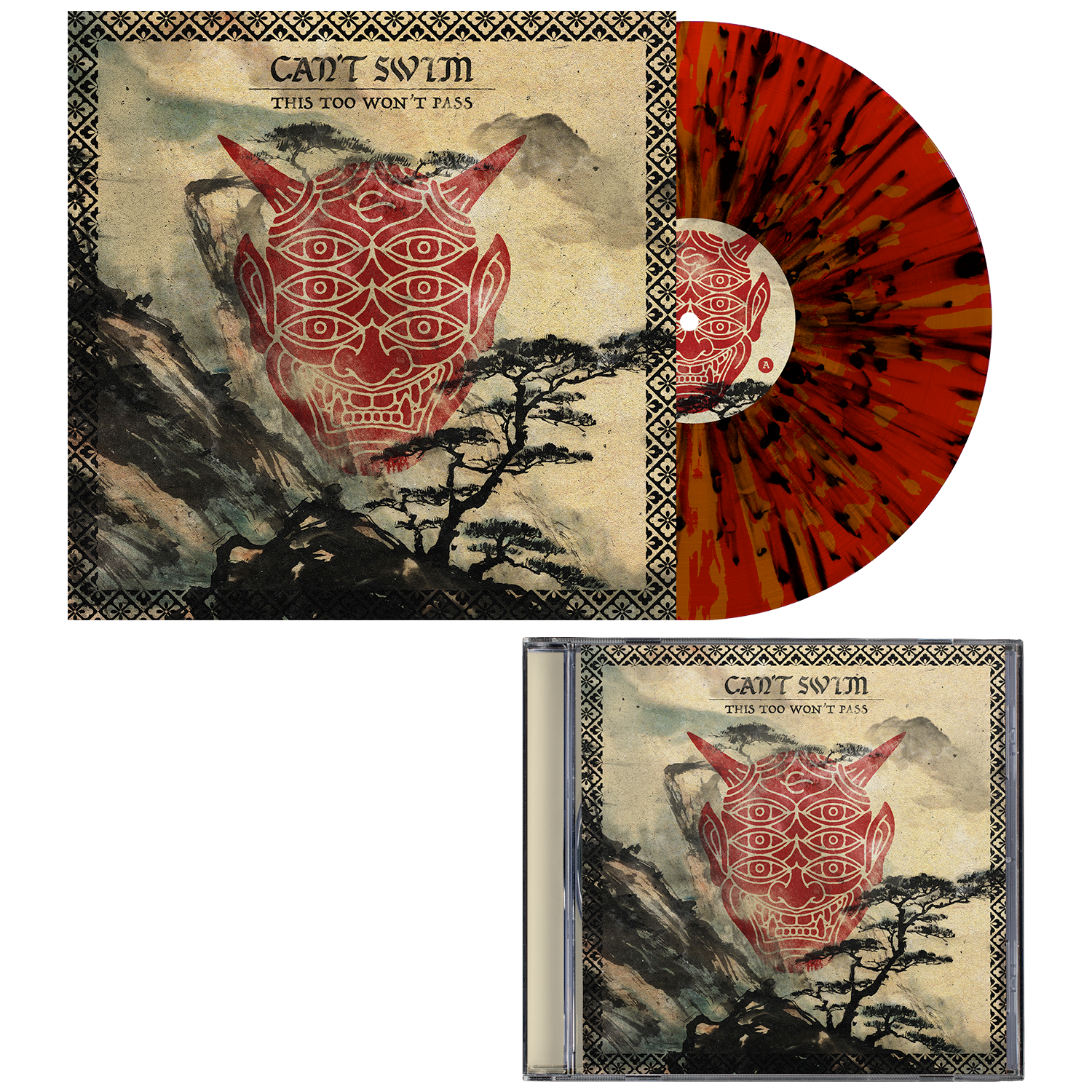 Can't Swim 'This Too Won't Pass' Gold / Red w/ heavy black splatter Vinyl + CD
