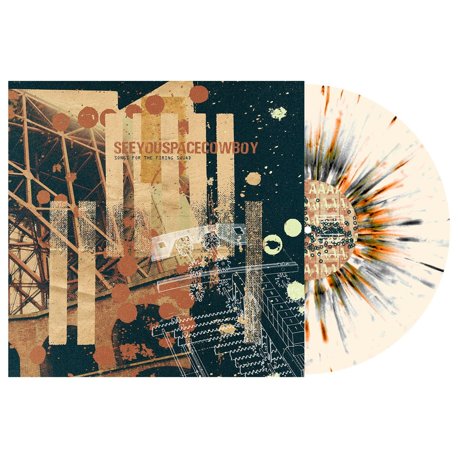 SeeYouSpaceCowboy 'Songs for the Firing Squad' LP (Bone w/ heavy black and Halloween Orange splatter)