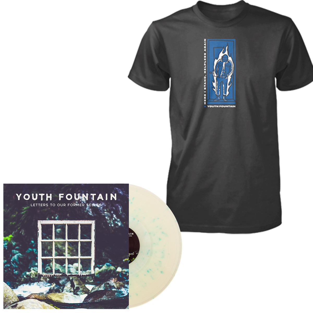 Youth Fountain 'Letters to Our Former Selves' LP (Milky Clear w/ Heavy Electric Blue Splatter) + T-Shirt