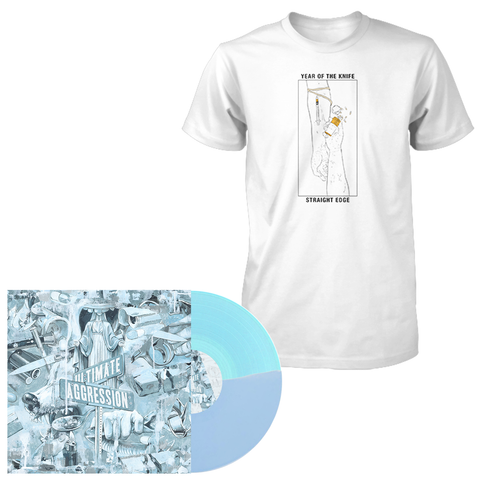 Year of the Knife 'Ultimate Aggression' LP (Half Baby Blue / Half Electric Blue) + T-Shirt