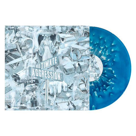 Year of the Knife 'Ultimate Aggression' LP (PN webstore exclusive - Electric Blue & Sea Blue Aside Bside w/ Heavy White & Grey Splatter)