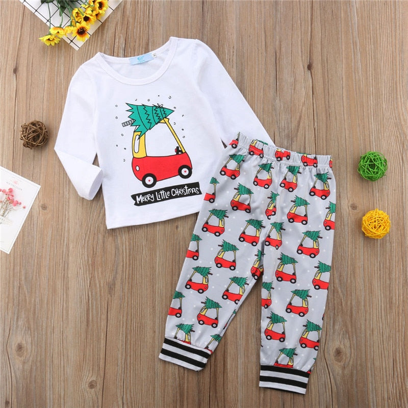 60de53cdd8 Emmababy 2pcs Xmas Clothes Toddler Baby Boy Girl T-shirt Top Pants Leggings Outfit  Set