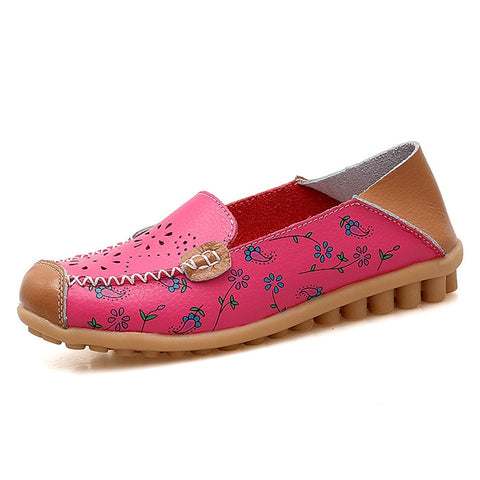 4440e30a0b60 Genuine Leather Shoes Women Ballet Flats Loafers Summer Moccasins ...