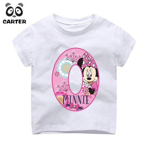 Kids Happy Birthday 19th Cartoon Mouse Number Print T Shirts