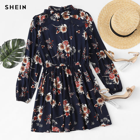 2809159ffb SHEIN Autumn Floral Women Dresses Multicolor Elegant Long Sleeve High Waist  A Line Chic Dress Ladies