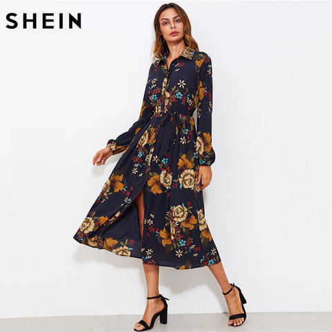 35f0515a9c SHEIN Self Tie Fit & Flare Botanical Shirt Dress Black Lapel Long Sleeve  Belted A Line