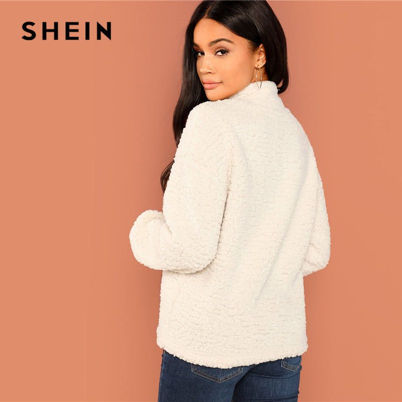 5720126e6e SHEIN White Casual Solid Button Front Half Placket Teddy High Neck  Sweatshirt 2018 Autumn Going Out