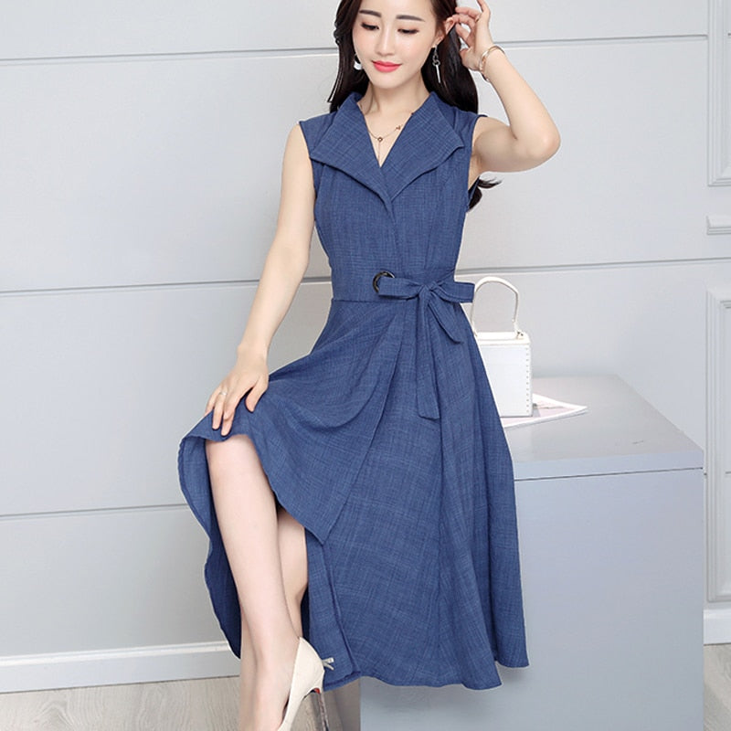 a03ca95ec9a Saiqigui 2019 new fashion Summer Dress Sleeveless work OL women dress  casual A-Lin v