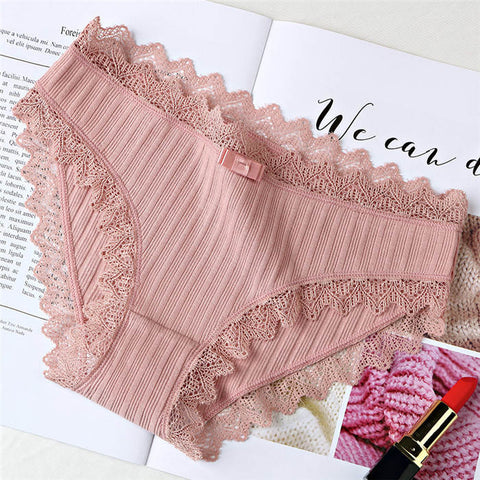 5577713fb Women s Cotton Panties Female Striped Breathable Briefs Sexy Lace Edge  Underwear