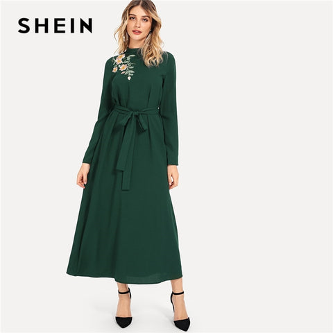 f12e7ed0bf SHEIN Green Elegant Party Flower Embroidered Mock Neck Long Sleeve Belted  Natural Waist Maxi Dress Autumn