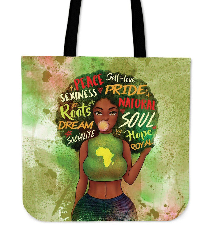 Black Girl Afro Tote Bag