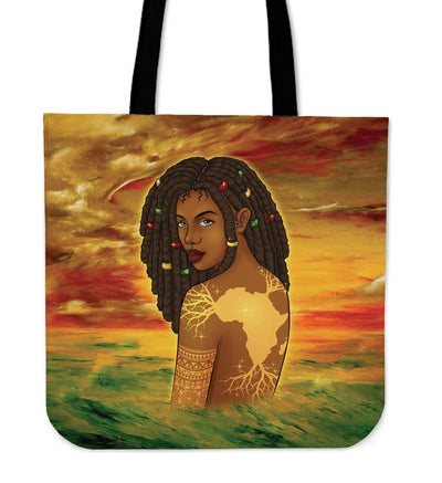 Black Girl Map Roots Tote Bag