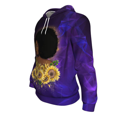 Black Girl Sunflower All-Over Hoodie