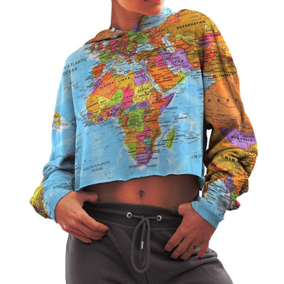 Africa Map Cropped Hoodie