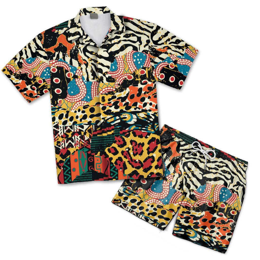 African Patchwork 2 Hawaiian Shirt And Shorts Set Hawaiian Shirt And Shorts Set Tianci