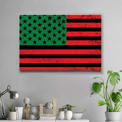 African American Flag Landscape Canvas - FREE SHIPPING