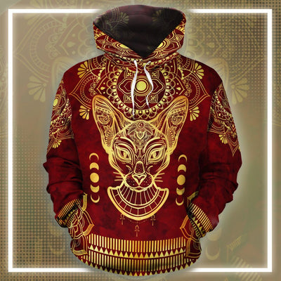 Bastet Pattern In Red All-Over Hoodie
