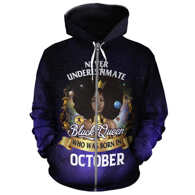 Never Underestimate A Black Queen Who Was Born In October All-over Hoodie