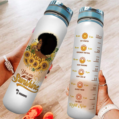 Black Woman Sunshine Water Tracker Bottle