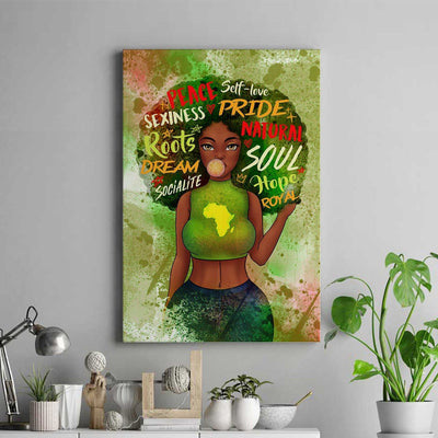 Black Girl Map Portrait Canvas - FREE SHIPPING